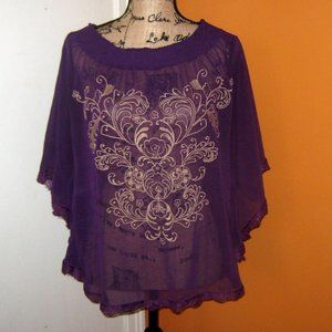 Flying Tomato Large Purple Batwing Sleeved Blouse